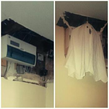 Home made ghost hiding unfinished job.
